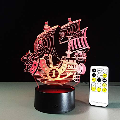 Velero, Bote, luz Nocturna pequeña, luz de Humor Variable, lámpara de Mesa Decorativa, táctil o Control Remoto