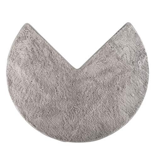 Santec Hochflor-Badteppich aus Mikrofaser für Eckduschen, mit Rutschfester Unterseite - Rund (Grau)