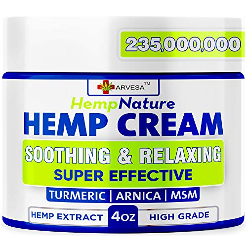 Natural Hemp Cream for Muscles, Joints, Foot, Back with Hemp, Arnica, Turmeric - Natural Hemp Oil Extract Gel - Made in The USA, 4oz