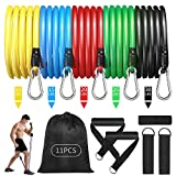 CABINAHOME Resistance Bands Set 11pcs for Men Women Exercise Bands with Handles for Workout Bands Indoor Outdoor Fitness Weights Bands Portable Home Gym Accessories Kit (Stackable Up to 100 Lbs)