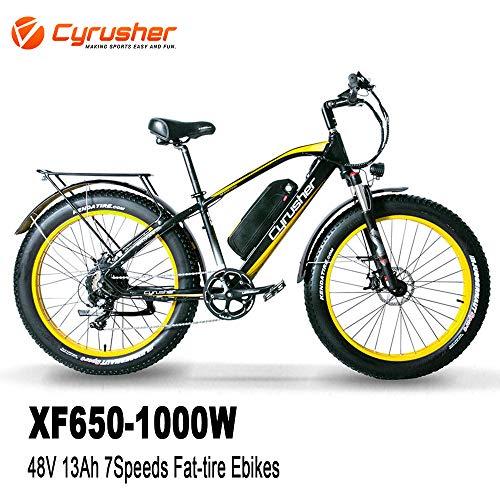 Cyrusher XF660 1000W Electric Bike 264 inch Snow Beach Fat Tire Mountain Bike 48V 13AH Hydraulic Disc Brakes 7 Speeds Ebike(Black)