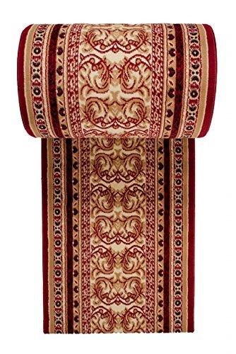 Tapis de Couloir Oriental Collection au Metre - Persan Motif - Résistant à Poil Court - « Verona» - Collection de Carpeto - Rouge Foncé Beige 70 x 900 cm