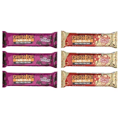 Grenade Carb Killa High Protein and Low Carb Bar, (6 Pack), 3 x Dark Chocolate Raspberry, 3 x White Chocolate Salted Peanut