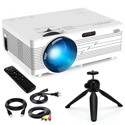 Merisny Mini Proyector Portatil, 2400 Lúmenes Video Proyector LCD 40000 Horas LED, 1080P HDMI VGA AV USB SD PC Phone, Home Theater Videojuegos Entretenimiento-Blanco (Cable HDMI y Trípode Incluidos)