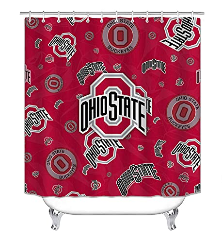 Ohio State Shower Curtain Waterproof Fabric Buckey-ES Shower Curtains for Bathroom with 12 Plastic Hooks, 72x72 Inch