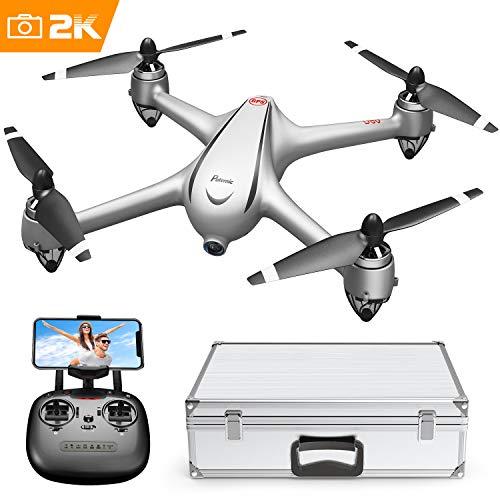 Drone GPS Con Motore Brushless Potensic Drone D80 WIFI Con Telecamera 2K Full HD Dual GPS Funzione di RTH, Altitudine Attesa, Allarme di Bassa Pressione e Segnale Debole Dotato di Valigetta