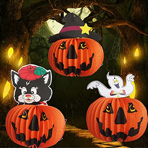 Lionvison Lanterne di carta di Halloween a forma di zucca, 3 pz 3D pieghevoli a nido d'ape per Halloween, feste, all'aperto, giardino, camera da letto, bar Decor