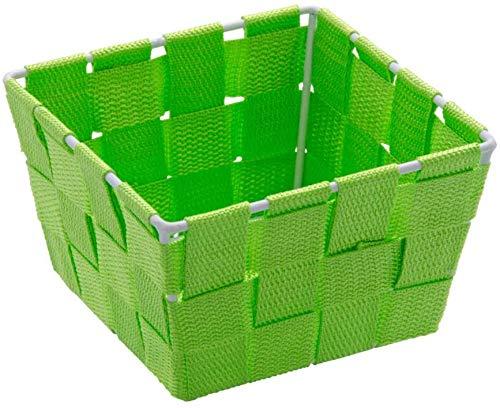 Wenko 4-er Set Aufbewahrungskorb Adria Mini Grün, quadratisch Füllkörbchen Wäschebox