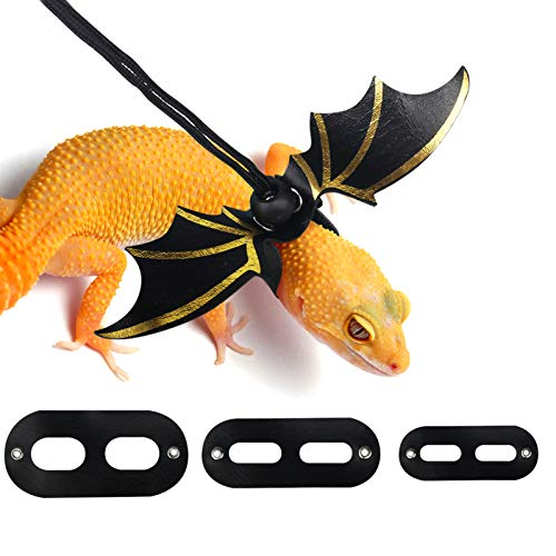 KWANITHINK Adjustable Bearded Dragon Leash Leopard Gecko Leash with Cool Wings, S/M/L 3 Size Packed Leather Lizard Leash for Walking, Comfortable Lizard Harness Reptile Leash Small Animals