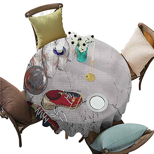 Decorative Table Cloth Bowling Shoes Pins and Ball in Artistic Grunge Style Print Round Tablecloths Dining Table Cover 70' R Pale Grey Red and Dark Blue