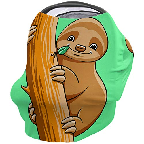 Great Features Of Sloth Nursing Cover for Baby Breastfeeding, Soft Breathable Stretchy Carseat Canop...