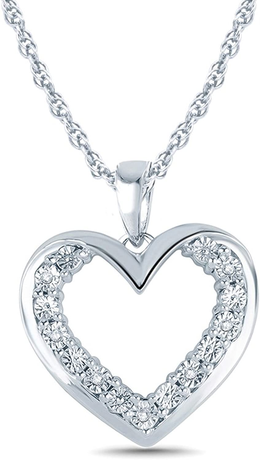 1 20CTTW Sterling Silver Miracle Plate Diamond Double Heart Pendant Necklace (IJ, I2I3)18