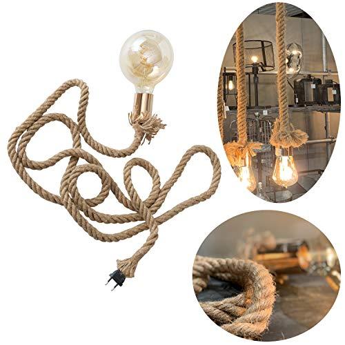 LS-LebenStil Tischlampe Hänge-Lampe Tau Sisal 300cm Seil-Lampe Pendel-Leuchte