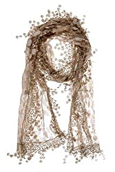 All Brown Leafy Lace Scarf With Tassels