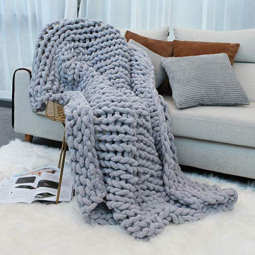 Inshere Luxury Chunky Knit Throw Blanket (48'x60')-Large Cable Knitted Soft Cozy Polyester Chenille Bulky Blankets for Cuddling up in Bed, on The Couch or Sofa (Slate Grey)