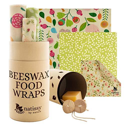 Bienenwachs Tuch aus Bio Baumwolle; 6er Set Beeswax Wraps für Brot, Käse und Sandwich; Öko Frischhaltefolie für Lebensmittel; Große & Kleine Wiederverwendbare Bienenwachstücher in der Küche; Wachstuch