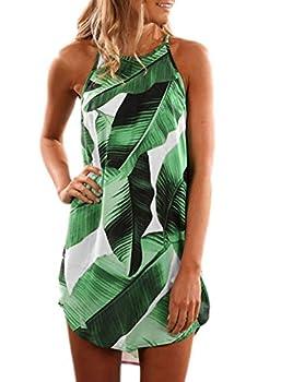 Asvivid Womens Halter Flower Printed Sleeveless Beach Mini Casual Dress Summer Wedding Guest Loose Short Sundresses L Green