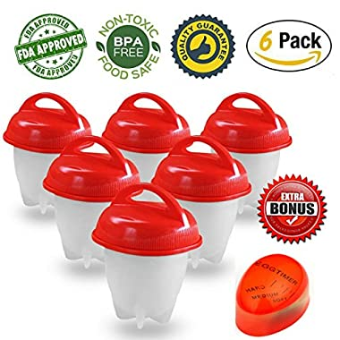 Egglettes Egg Cooker - Hard Boiled Eggs without the Shell, Eggies AS SEEN ON TV,6 Pack with BONUS ITEM.