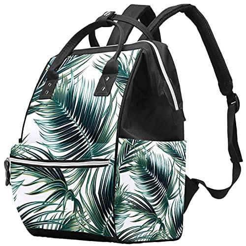 WJJSXKA Zaini Borsa per pannolini Laptop Notebook Zaino da viaggio Escursionismo Daypack per donna Uomo - Foglie di palma tropicale