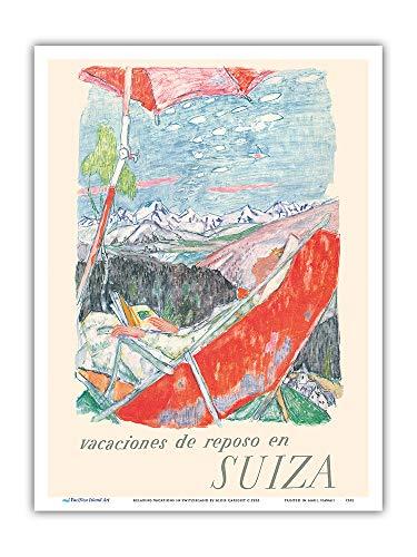 Pacifica Island Art - Erholungsurlaub in der Schweiz - Schweizer Alpen - Retro Weltreise Plakat von Alois Carigiet c.1953 - Kunstdruck 23 x 31 cm