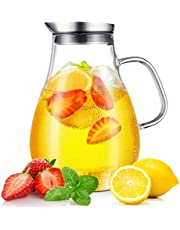 CNNIK Glazen kan, 2 liter, loodvrij borosilicaatglas, waterkan met deksel, glazen karaf voor warm/koud water, melk, rode wijn, vruchtensap, koffie en ijs dranken