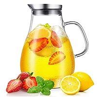 cnnik brocche e caraffe, 2l caraffa vetro, brocca di vetro e coperchio in acciaio inox, brocca acqua per bevande calde/fredde