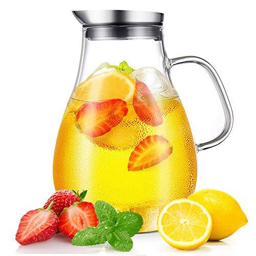 CNNIK Jarras de Cristal, 2L Jarras para Agua, Botella de Cristal y Tapa Acero Inoxidable, Jarra Agua para Bebidas Calientes/Frías