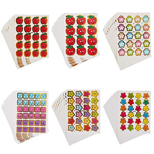 NBEADS 2240 Piezas de Pegatinas de Papel, Recompensa Pegatinas Happy Face Y Smiley Star Stickers, Pegatinas de Colores Pegatinas de Incentivos Decoración de Chatarra Artesanal para Maestros Y Padres