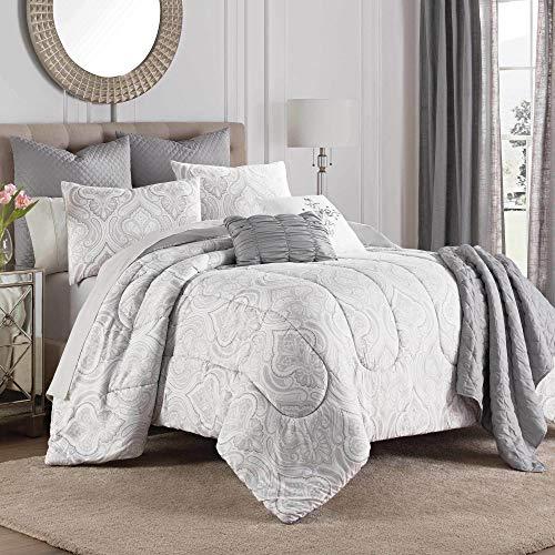 Martex Aria Comforter Set, Queen, Gray