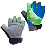 Auchee LED Turn Signal Cycling Gloves Washable Battery Replacable Shock-Absorbing SBR Pad Silica Gel Grip Breathable Lycra Half Finger Gloves for BMX Mountain Bicycle Bike Road Racing (Green, Medium)