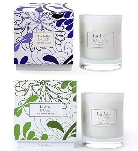 LA JOLIE MUSE Candele Profumate Regalo di Natale Cera Naturale lavanda PACK2 Liliac & Night Jasmine New
