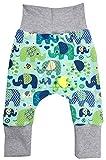 Wollhuhn Öko Lässige Babyhose Elefanten Blau/Grün für Jungen und Mädchen (aus Öko-Stoffen, Bio), 20180505, Elefanten Blau / Grün, 74