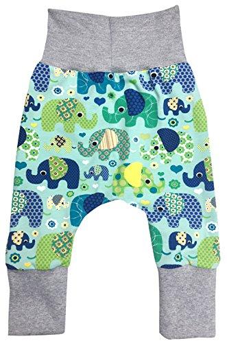 Wollhuhn ÖKO Lässige Babyhose Elefanten blau/grün für Jungen und Mädchen (aus Öko-Stoffen, Bio), 20180505, Größe: 92