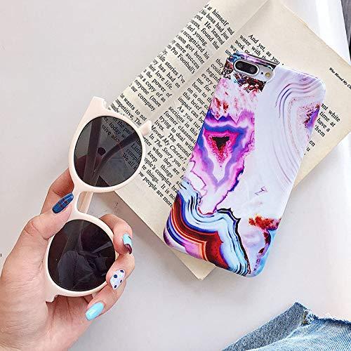 KNGYUTF beschermhoes met telefoon voor iPhone XR XS Max 6 6S 7 8 Plus X kleur graduele marmer glanzend zacht IMD achterkant beschermhoes met ring Pour iPhone XR Groen