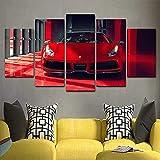 TTTRR Impreso Mural Coche deportivo Ferrari 5 Piezas Lienzos Cuadros Impresiones En Lienzo HD Póster Enmarcado Arte Moderno Sala De Estar Decoración del Hogar 150*80 CM