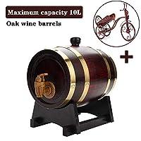 ウィスキーラムテキーラブルボンブランデービールのための木製スタンドで塗装1.5 / 3/5 / 10Lワインスピリットウイスキーストレージバレルヴィンテージオーク樽レッド (Color : Brown, Size : 3L)