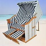 Strandkorb XXL für Balkon blau gestreift inkl Strandkorb Schutzhülle - blau gestreift mit weißem Polyrattan und braunem Holz, Form Ostsee Strandkorb
