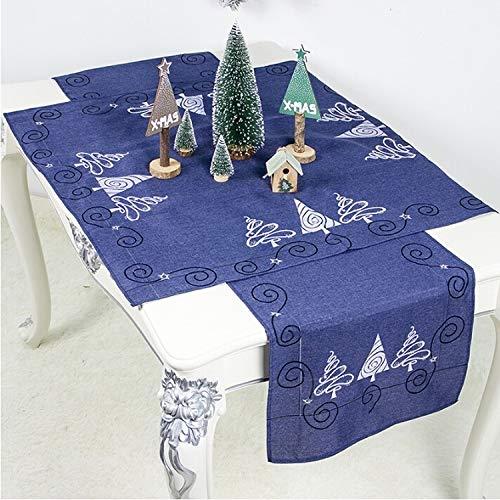 LJYNB Tafelkleed Tafelkleed 2 Stks Kerst Stof Kerstboom Borduren Tafelvlag Decoraties, Stijl:Vierkant+Rechthoek (Rood)