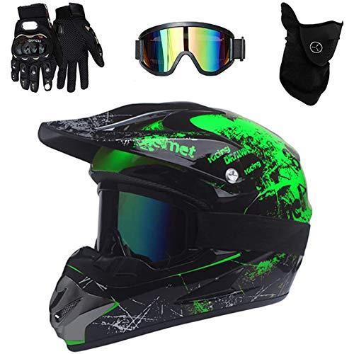 VOMI Motocross Helmet Kids/Adult Full Face MTB Helmet Set with Goggles Mask Gloves, DOT Certification Motorcycle Enduro Helmet for Downhill MX Bike Racing Dirt Bike (Black Green,M)