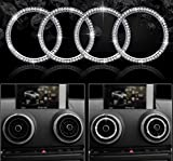 HAILWH Bling Interior Accessories for Audi A3 S3 RS3 2014-2019 Air Conditioner Outlet Multimedia Knob Rhinestone Crystal Applique Cover Applique Ring (Air Outlet Decorative Ring 4 Pieces/Set)