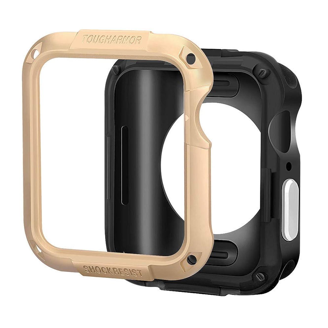 望み開発する過ちiWatch Series 4、Two-in-one TPU、およびPCバンパーフレームと互換性のあるApple Watch 40mm 44mm Series 4用保護ケース (44mm, ゴールド)
