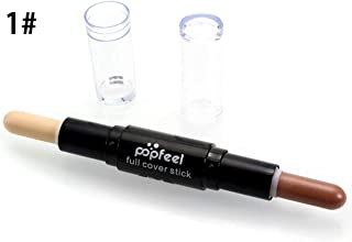 POPFEEL Professional Double-ended Long-lasting Concealer Brozer and Highlighter Stick Pen Makeup Moisturizing Pencil