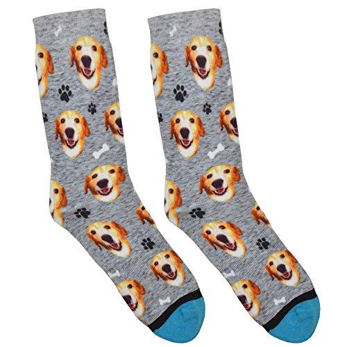 Custom Dog Socks - Put Your Dog on Socks! (Large, Heather Gray)