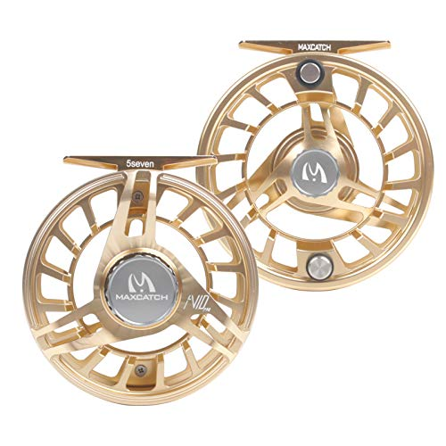 Maxcatch AVID PRO Fly Fishing Reel with CNC-machined Aluminum Body Super Large Arbor Design--3/5, 5/7, 7/9 Weights (Gold, 3/5wt)