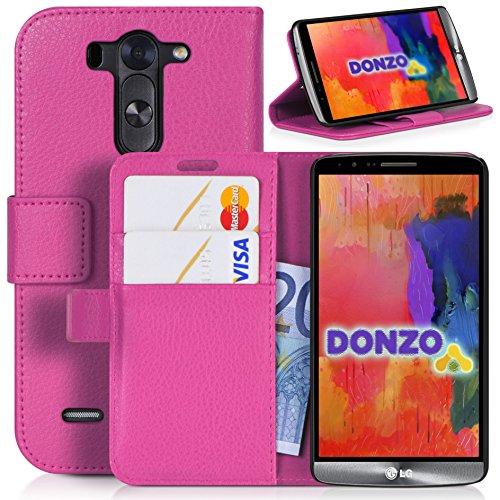 DONZO Tasche Handyhülle Cover Hülle für das LG G3 s in Pink Wallet Structure als Etui seitlich aufklappbar im Book-Style mit Kartenfach nutzbar als Geldbörse