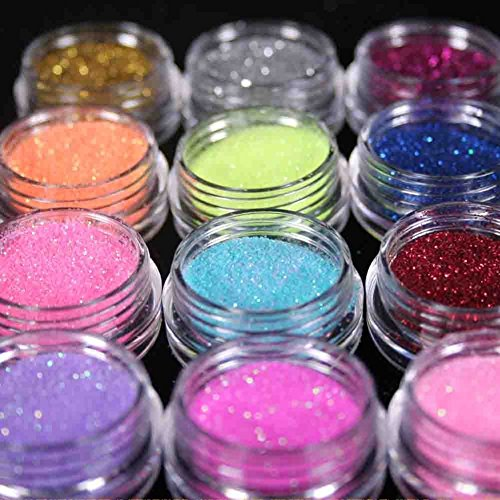 Renexxt 12 Mix Color Random Nail Art Acrylic Glitter Dust Powder