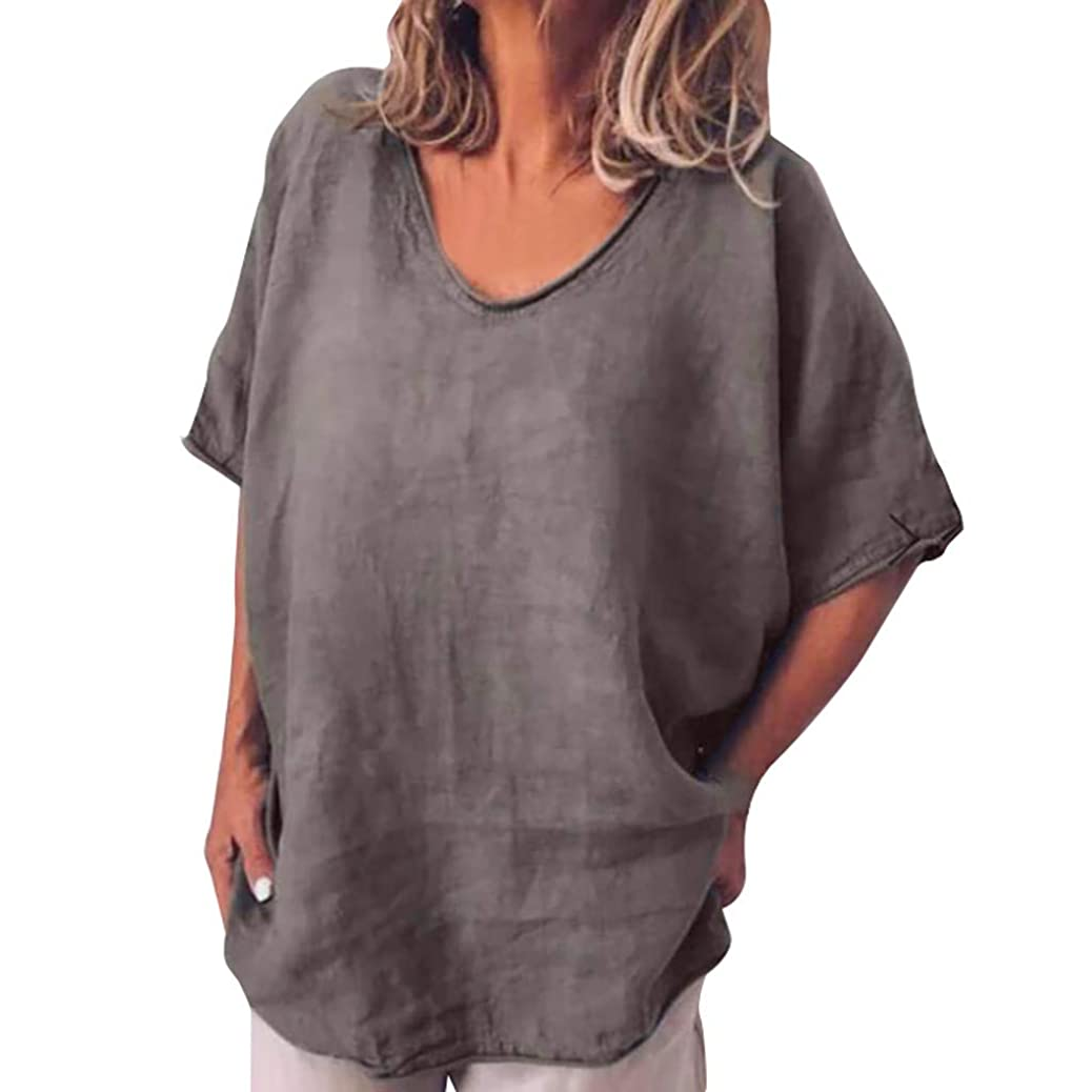 Women Cotton and Linen Plus Size Top T-Shirt Summer Solid V Neck Short Sleeves Blouse whippvbjdf