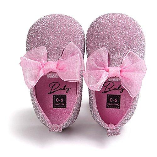 Chaussures à chaussures confortables pour bébés tout-petits Chaussures douces et antidérapantes pour le glitter avec Bowknot pour 0-18 mois Filles Printemps été Automne Wearing (Rose, M)