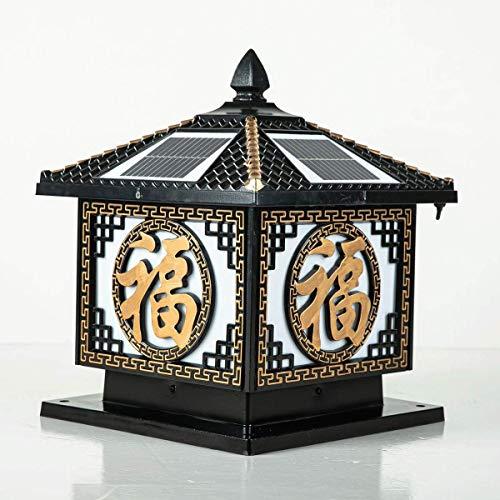 KAIKEA BlackOutdoor - Linterna de pilar de acrílico solar, decoración de poste de puerta IP55, lámparas de poste de pilar impermeables de doble uso, enchufe eléctrico para montaje en exteriores, acces