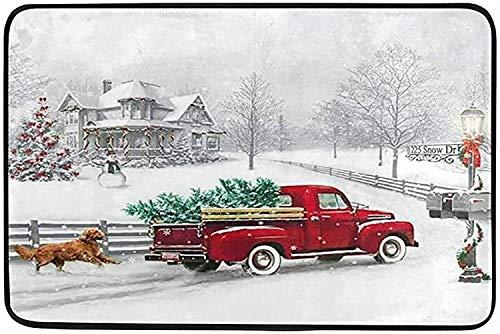 Winter Red Truck Dog Doormat Indoor Door Mats 23.6 x 15.7 inch Christmas Tree Snowflake Cardinal Bird Floor Mats Entry Way Welcome Doormats Bath Pad for Kitchen Bathroom Home Decor